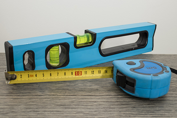 Tape measure and spirit level