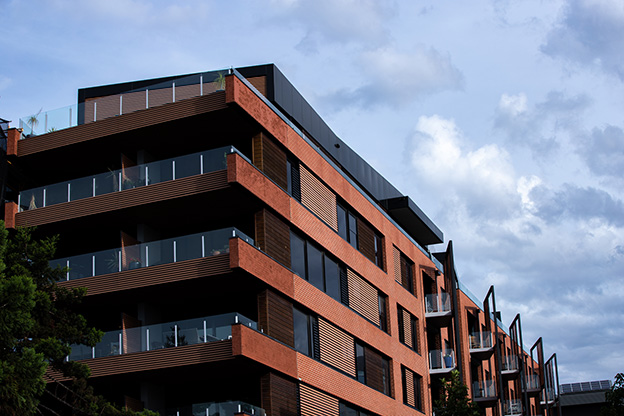 Apartment building clad in red brick