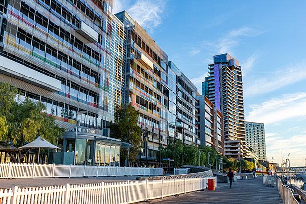 Apartment buildings on Harbour Esplanade, Docklands