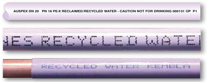 Examples of recycled water pipes