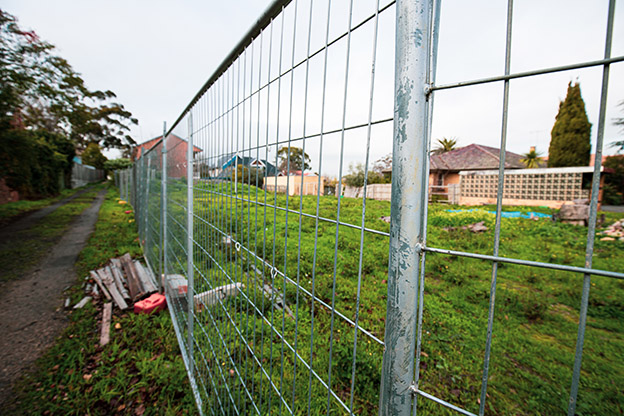 Temporary fencing around vacant site