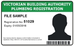 image of a VBA plumbing registration card