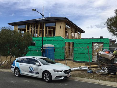 VBA car at building site