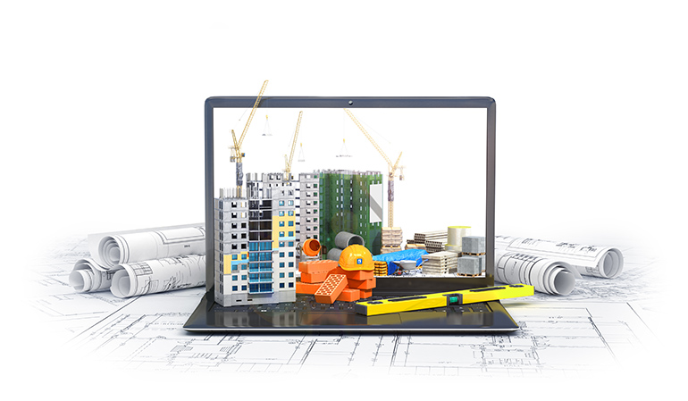 Building materials on laptop