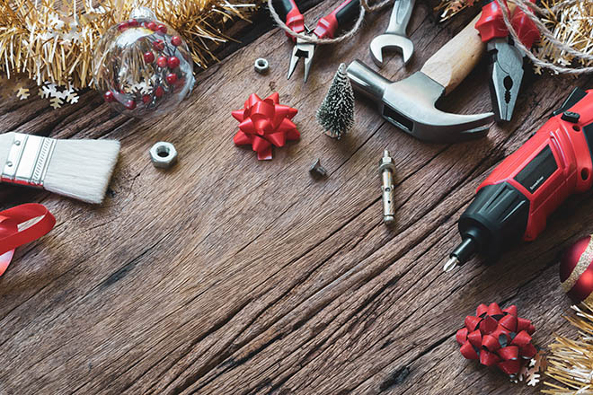 Building tools with Christmas decorations
