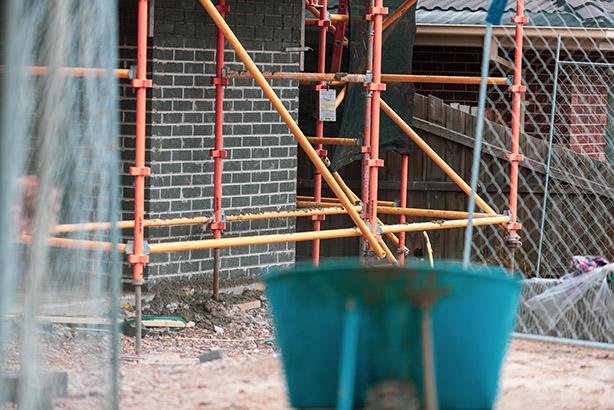 Wheelbarrow on building site