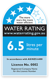 image of a water rating label