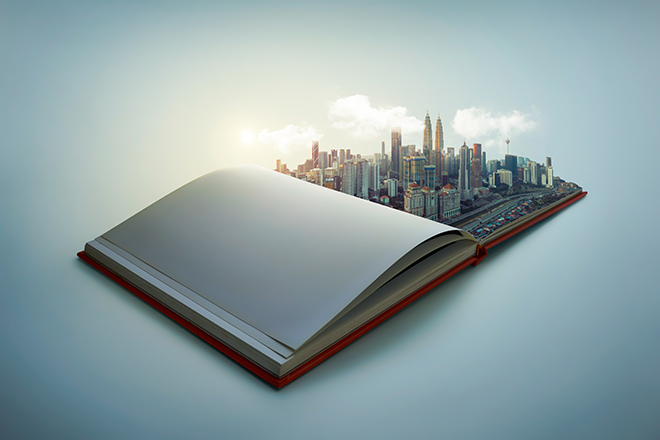 Cityscape pop-up in book