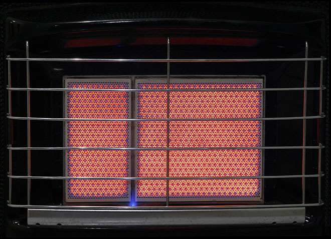 Close-up of gas heater